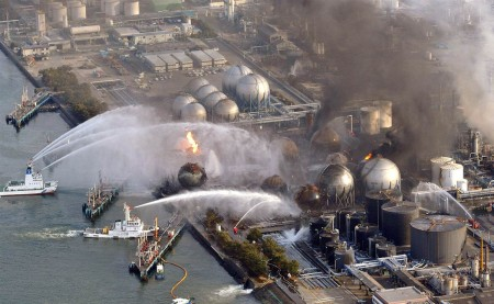 Fire Boats in Fukushima nuclear plant putting out the fires