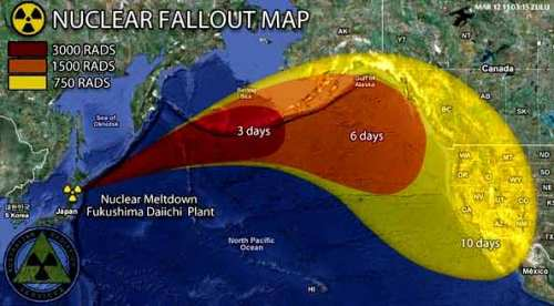 Fukushima nuclear radiation cloud moving towards the United States