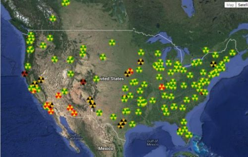 United States Nuclear Radiation Measuring Stations Map with Radiation Intensity from Fukushima colour coding the danger signs.