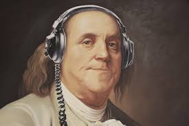 Ben Franklin with headphones listening